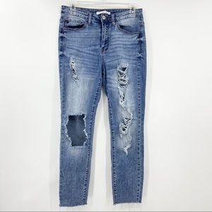 KANCAN Destroyed Skinny Leg Jeans, Ankle Fray